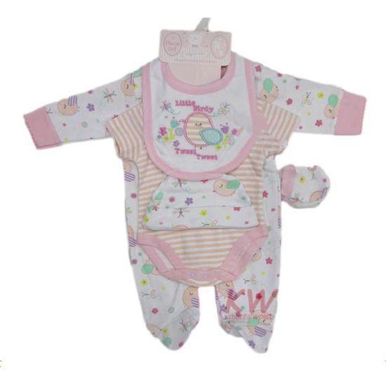 Ensemble Cadeau De Naissance Bébé Fille Pyjama Body Bonnet Bavoir Moufles