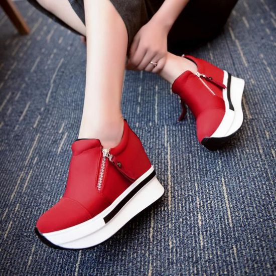 Femmes Bottes Compensées Chaussures de plate-forme Slip On cheville Bottes Chaussures Casual  Red  Red - Achat / Vente slip-on