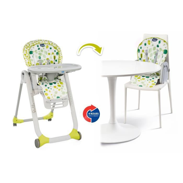 CHICCO Chaise Haute Polly Progres5 - 4 Roues kiwi