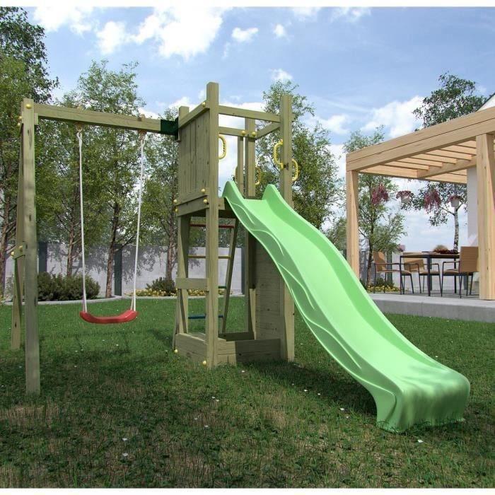 Aire de Jeux en bois Aglaé pour Enfants (toboggan, balançoire)