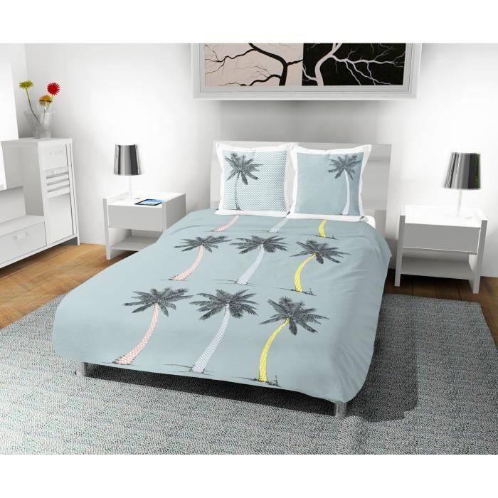 SOLEIL D' OCRE Parure de couette Palmier 100% coton - 1 housse de couette 240 x 260 cm + 2 taies d'oreiller - Bleu