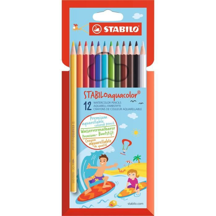 STABILO Etui carton de 12 crayons de couleur Aquacolor aquarellables