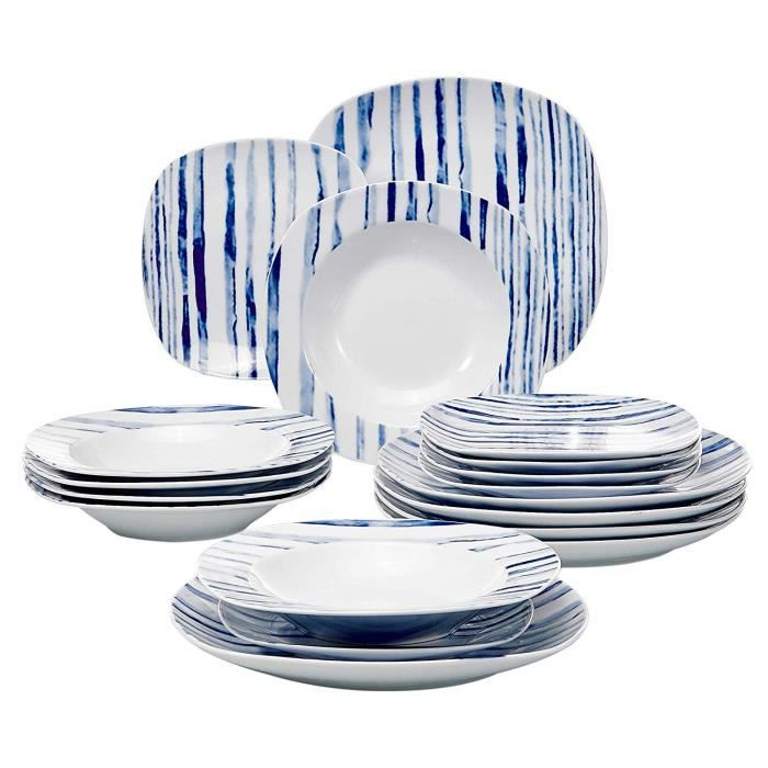 7bf5cda5e34b4f Veweet JOYCE 18pcs Assiettes Service de Table Pocelaine Assiettes Plates  Assiette Creuse Assiette à Dessert Ligne Bleu