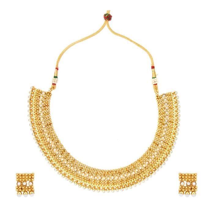Blanc mariée Femmes en alliage de cuivre Ensemble de bijoux avec collier et boucles doreilles pour dames HNAK1