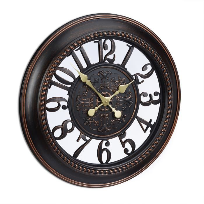 Grande Horloge Murale Vintage Brun Silencieuse Achat Vente