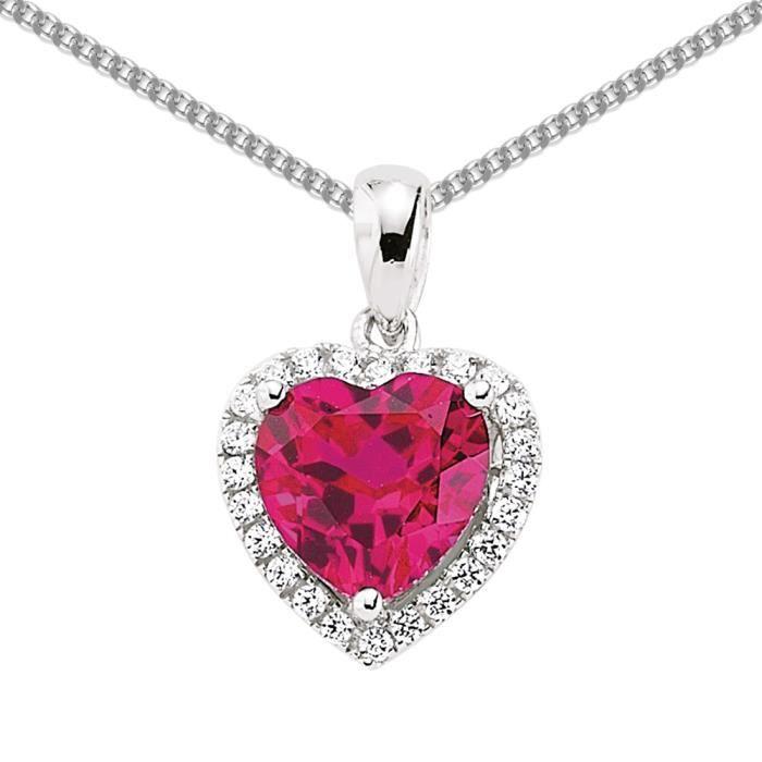 Jewelco London Plaqué Rhodium Argent Sterling rouge et Blanc CZ Love Heart Halo pendentif Collier 45cm