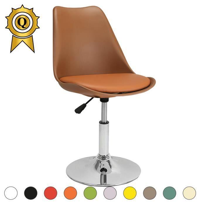 1 X Chaise Inspiration Eames Tulipe Pivotante Reglable Inox Chrome Marron MobistylR