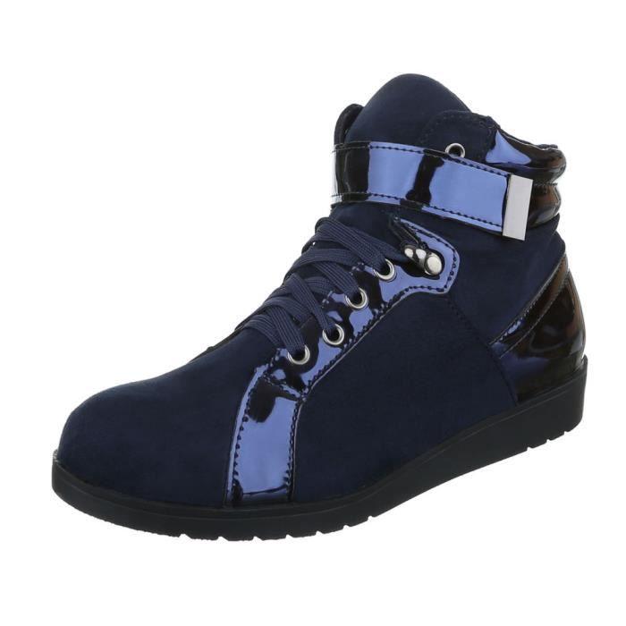 femme Sneaker chaussure chaussures décontractées coureur High-top lacer ses bleu foncé MXxqy