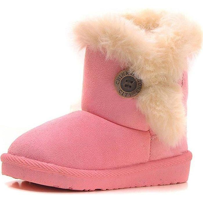 Minetom Fille Hiver Chaud La laine Rembourré Chaussures Doux Doublé Bottes Toddlers Bottes Bébé Antidérapant Neige Bottes