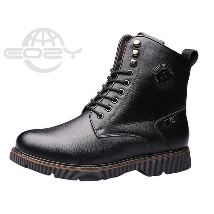 Eozy Boots Homme Bottine en Cuir et Velours Mode Chaud Hiver Noir DF9t6aJL2E
