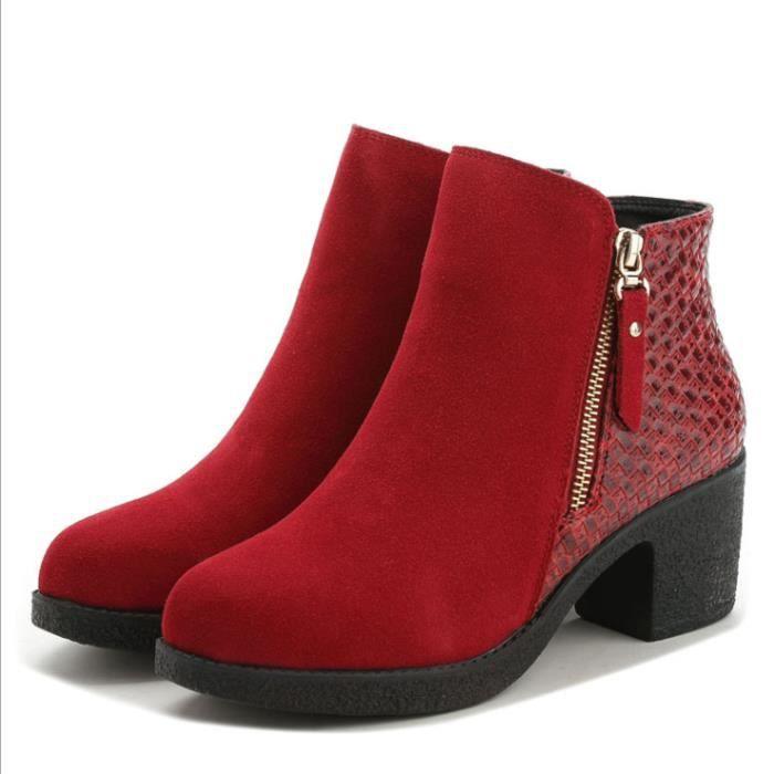 Femme Fille BottineDuveteux de Cuir Jointif en Clôture de ZipBoutique chaussures confortables®