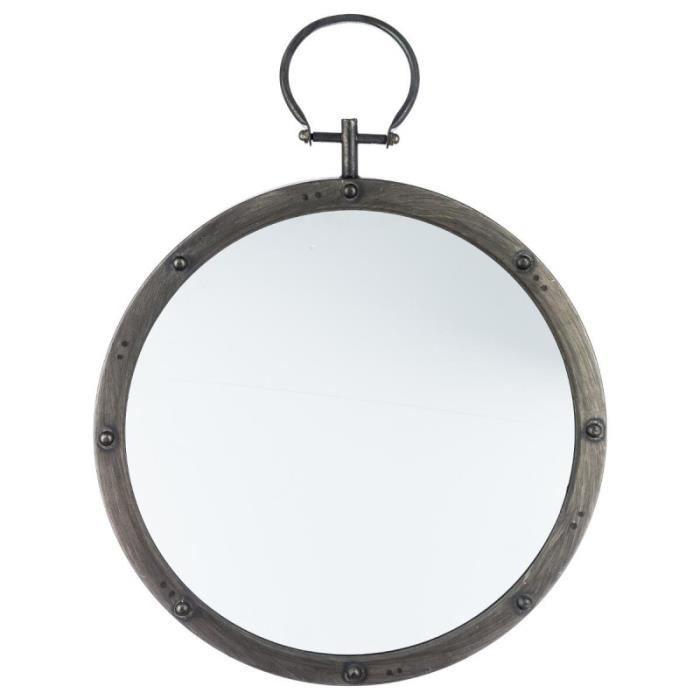 Paris prix miroir m tal gousset rond 40cm gris fonc for Miroir rond gris