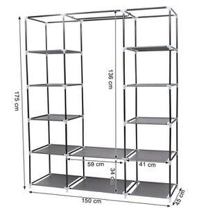 armoire tissus gris achat vente pas cher. Black Bedroom Furniture Sets. Home Design Ideas