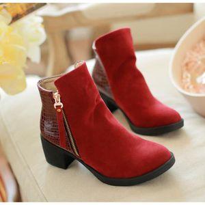 Femme Fille BottineDuveteux de Cuir Jointif en Clôture de ZipBoutique chaussures confortables® 2k2AL