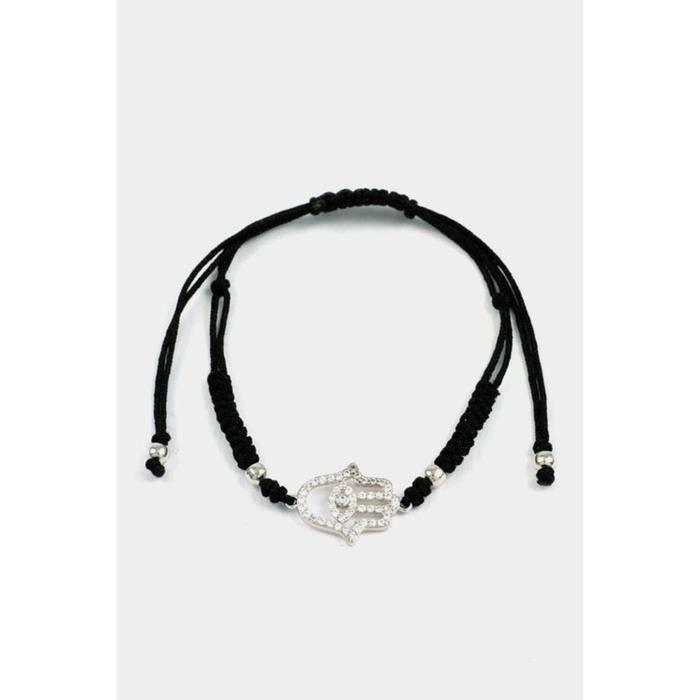 Womens Hamsa With Cz Cord Adjustable Bracelet FVQHQ