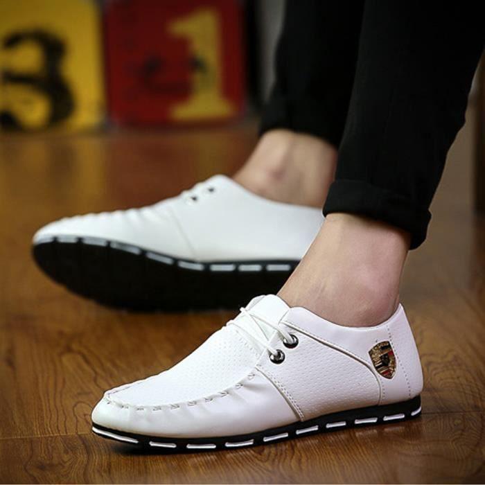 En Chaussures Cuir Blanc Mocassin Hommes Décontractée w4g1q160