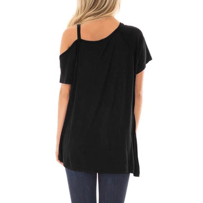 Causales Courtes Noir Solides Femmes shirt T Tops Tunique Manches qpSEEt