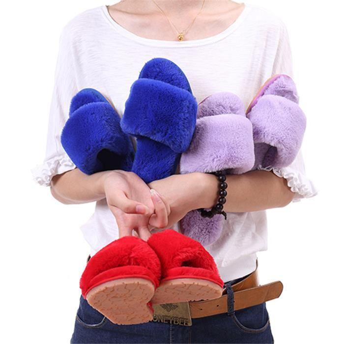 nouvelle courte chaussons Plusie dssx377rouge36 femme pantoufles chaud hiver léger version mode chaussure Peluche femmes pour 8rOWf6n8
