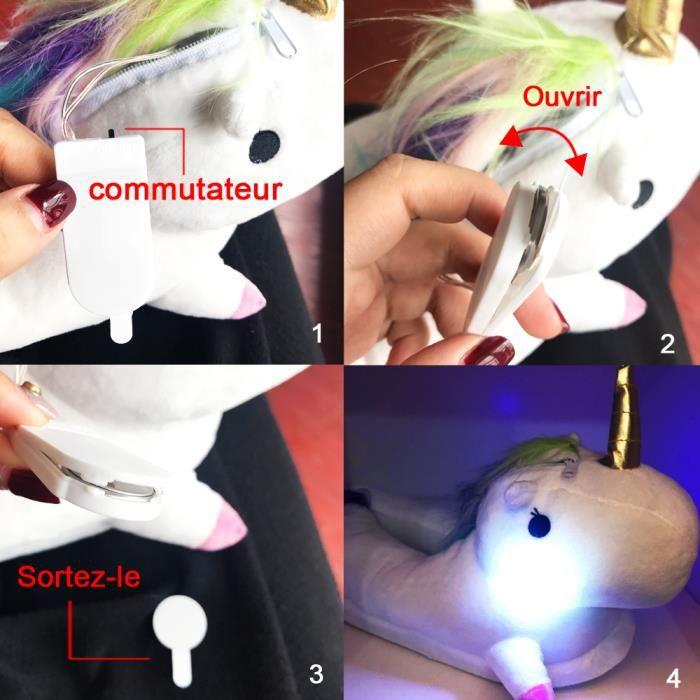 Lumière LED Pantoufle Femme Adulte Licorne En Peluche Hiver Domicile En Coton Chaud Drôle Mignon Animal Noël Pantoufle