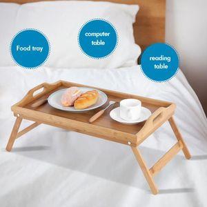 BAC Plateau de lit en bois de bambou portatif pour tab