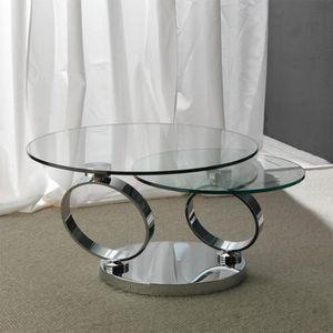 TABLE BASSE Table basse ronde en verre et acier ROSANA