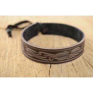 BRACELET - GOURMETTE Bracelet en cuir naturel brun à nouer fait main de