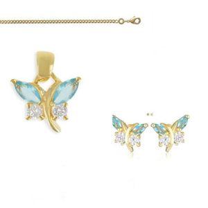 PARURE Parure Bijoux Goutte Cristal Turquoise Plaqué Or 7