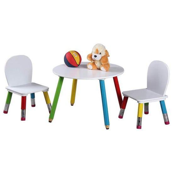 Set Table Et 2 Chaises Enfant Colors Bois Blanc
