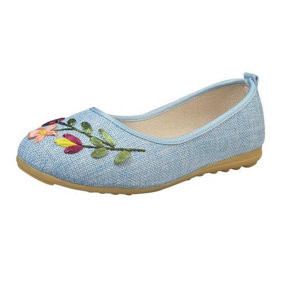 Vintage brodé Femmes Fleur Slip Tissu en lin Chaussures plates confortables @Bleu clair  Benjanies  Bleu clair - Achat / Vente slip-on