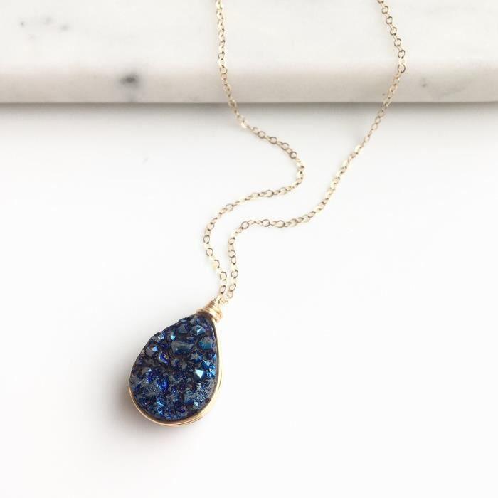 Womens Blue Druzy Teardrop Gold Filled Necklace OARIF