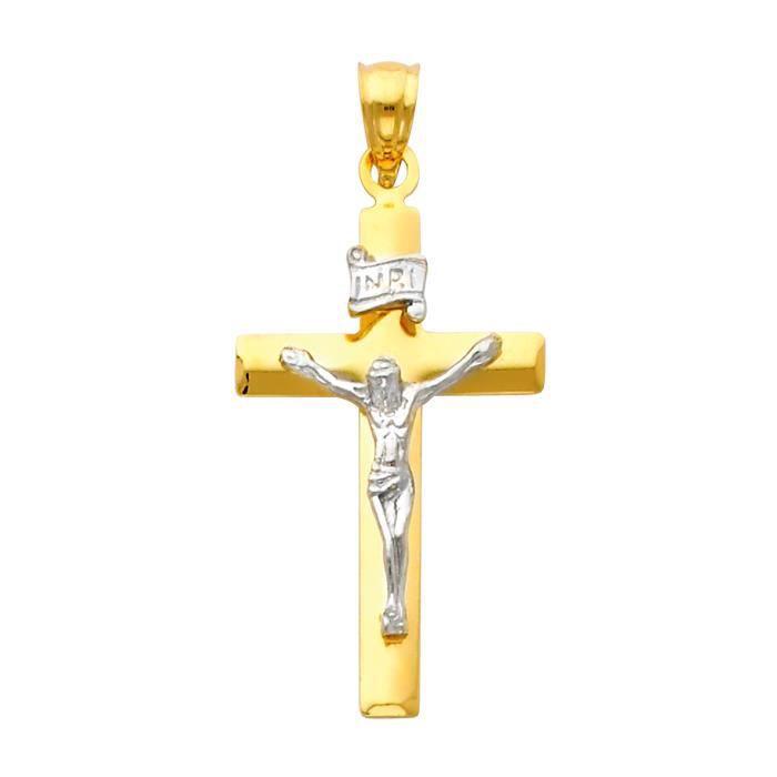Pendentif 14 ct Or 585/1000 tonnes Deux AVEC vénérés Crucifix