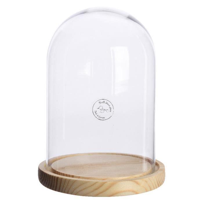 cloche en verre socle bois naturel 24 cm achat vente. Black Bedroom Furniture Sets. Home Design Ideas