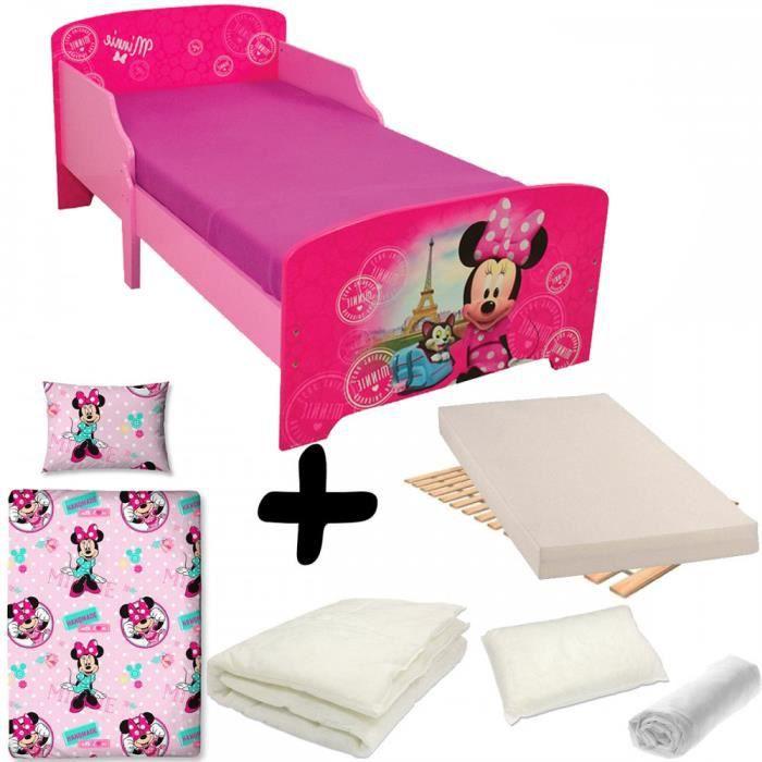 Pack Complet Lit Paris Minnie Mouse Disney Lit Matelas Parure