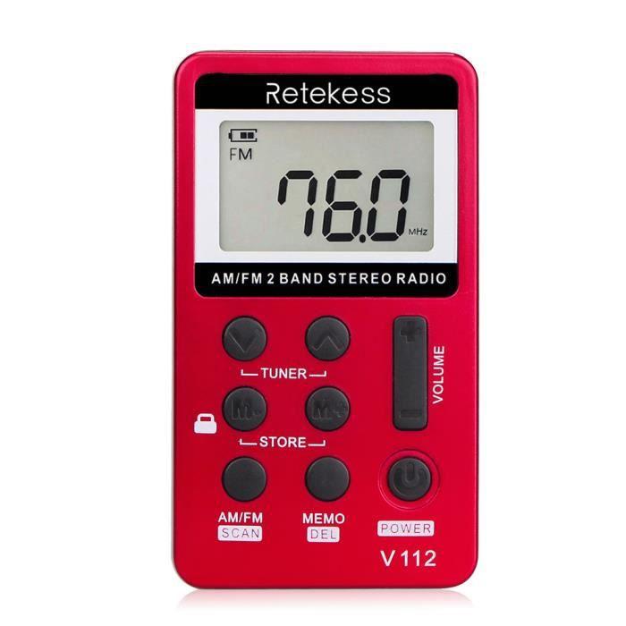 Retekess V-112 Portable Am / Fm Stéréo Radio Poche 2 Bande Tuning Numérique Mini Récepteur Extérieure W Écouteur