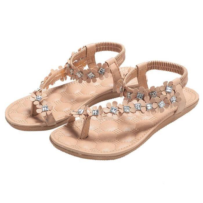 Mesdames Sandale nu pieds Bohemia Style Floral talon plat sandale wRLyDMY