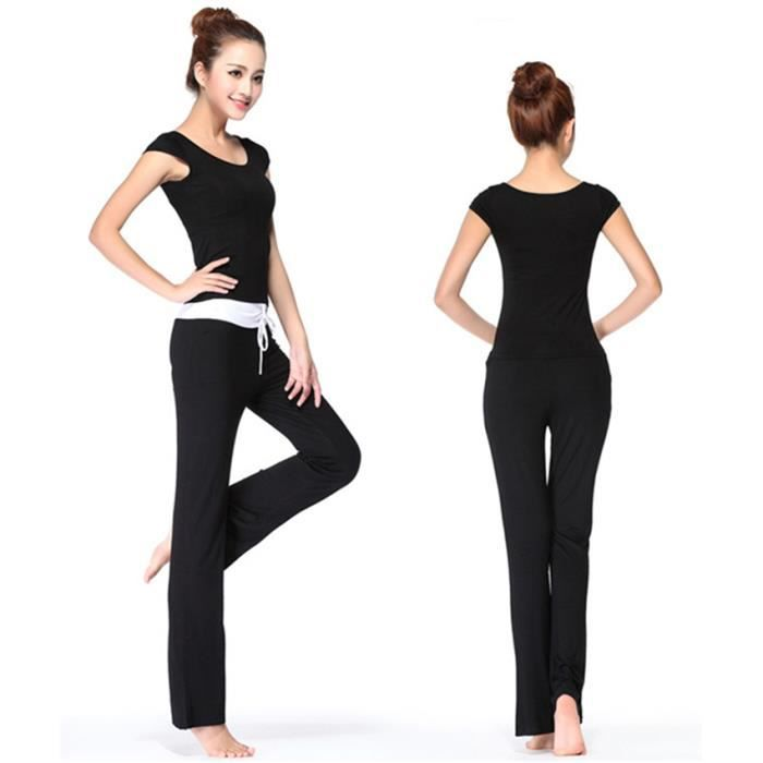 mimode ensemble v tement de yoga femme tenue de sport danse fitness t shirt d bardeur pantalon. Black Bedroom Furniture Sets. Home Design Ideas