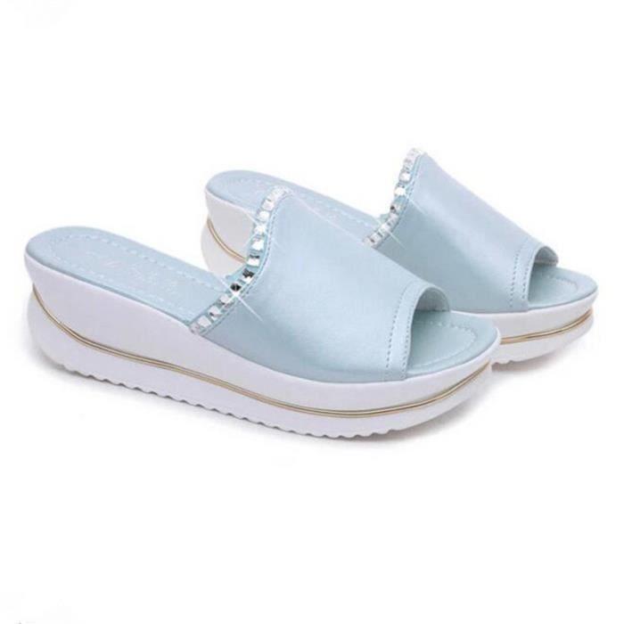 Sandales Femme Nouvelle Mode Talons hauts Sandales 2017 ete Femmes Sandales De Marque De Luxe Plus De Couleur Grande Taille