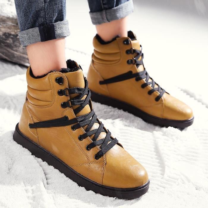 c606215015fcde ... cuir en peluche Pelage Mode Chaussures Bottes,jaune,44. BOTTE Hommes  Bottes hiver Marque Casual chaud Chaussures