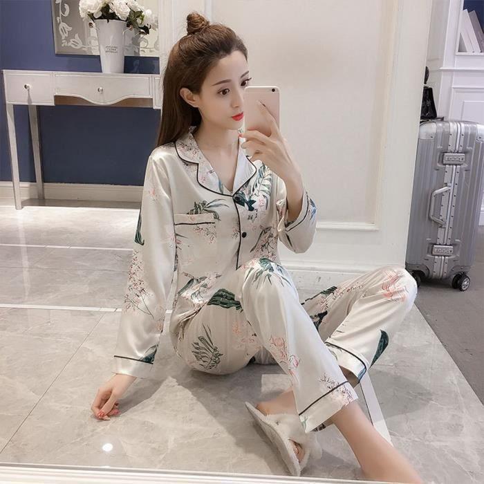 7c902bceaedcc Chemise De Nuit Pyjamas imprimés Femmes Soie Homewear Tops à manches ...