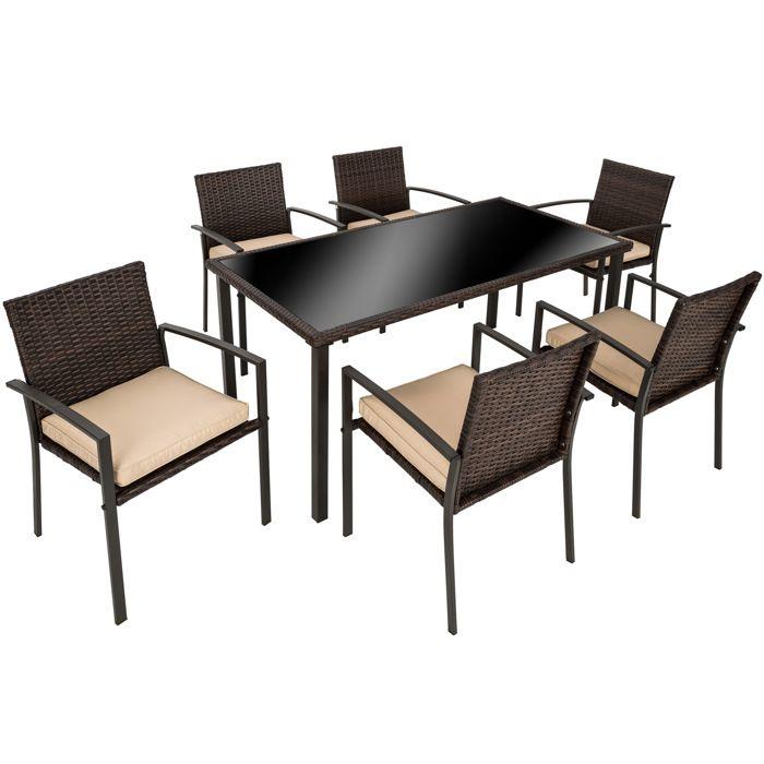 SALON DE JARDIN Salon De Jardin 6 Chaises Et 1 Table En Rsine Tr