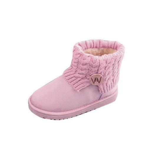 Femmes Plates Chaussures Bottes Mode D'hiver Spentoper De Laine Bottines Chaude Neige rose RZwF5tUx