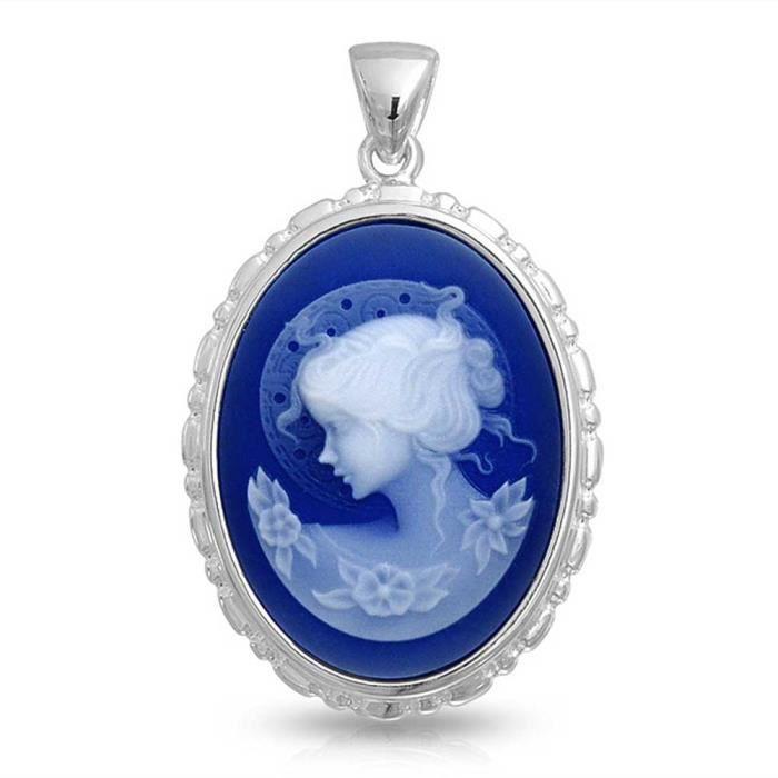 Brink simulé bleu Pendentif Camée Résine Heirloom Argent 925