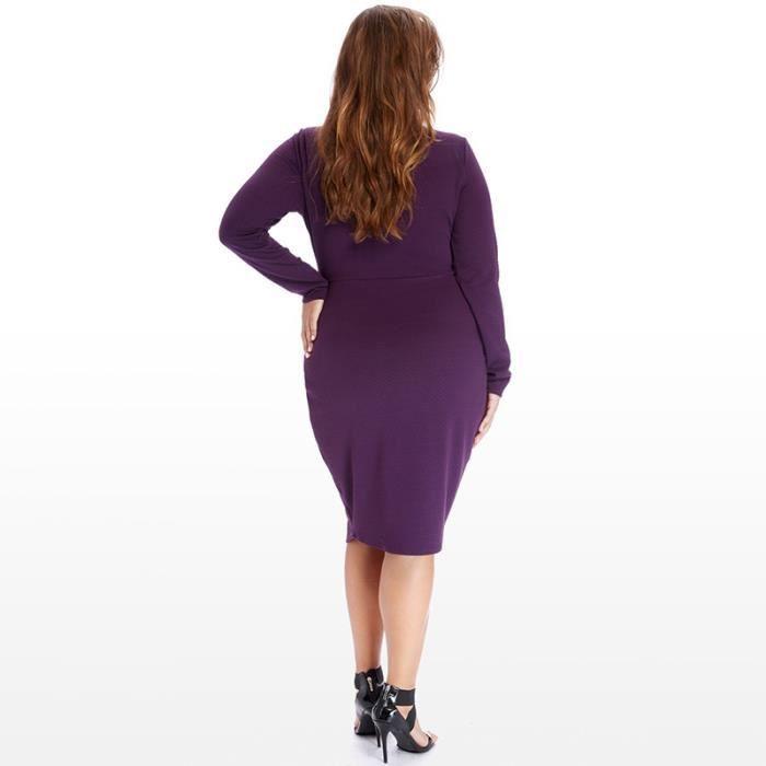 Robe Femme Mode à Manches Longues Col V Était Hip Mince Grande de Taille