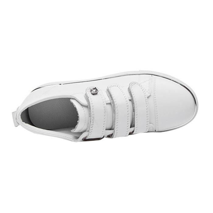 Femme Fille Chaussures Bateaux Scratch en Cuir Confort
