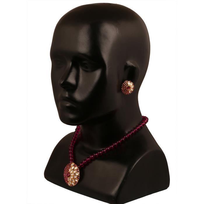 Plaqué or rose fuchsia femme Kundan collier pendentif Set PourVXAAS