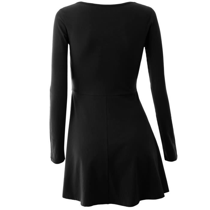 Robe Femme à Manches Longues en Tricot de Coton Slim V-col Sexy