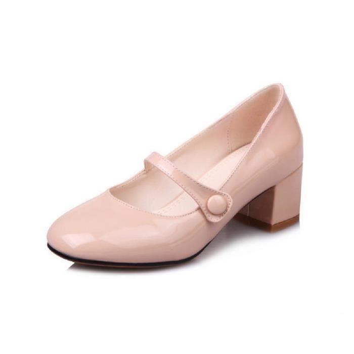 Nouveau Femme Jeune Séduisante Automne Printemps Tempérament Cuir Chaussures Simple Chic Mariée wwqv41A