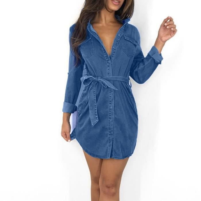 Bouton Try1405 Jeans Longues Bas Hauts Robe Femmes Denim Femme Belted Chemise R354AjLq