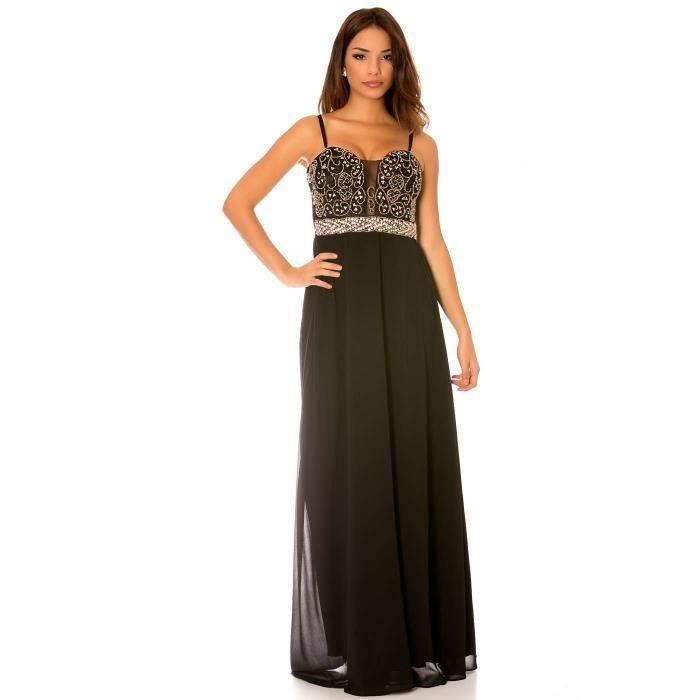 Miss Wear Line - Longue robe noir avec sublime motif strass au buste