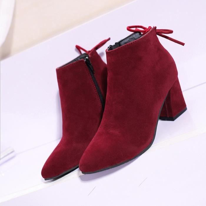 Mode automne en haut épais Martin bottes talon Bottes femme hiver véritable talon Cuir et cheville bottes noir 39 vW08Xtwp